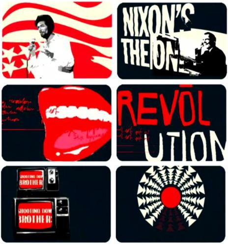 "Screenshots from Apt Studio's video of ""The Revolution Will Not Be Televised"" to promote ""Now and Then"", a collection of Scott-Heron's poems and lyrics."